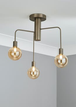 Brass Drop Semi Flush Ceiling Light (H46cm x W46cm)