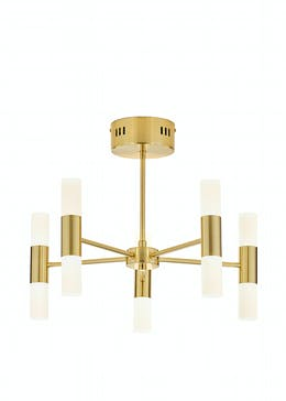 5 Arm Brass Tube Chandelier (H35cm x W45cm)