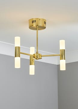 3 Arm Brass Tube Chandelier (H35cm x W39cm)