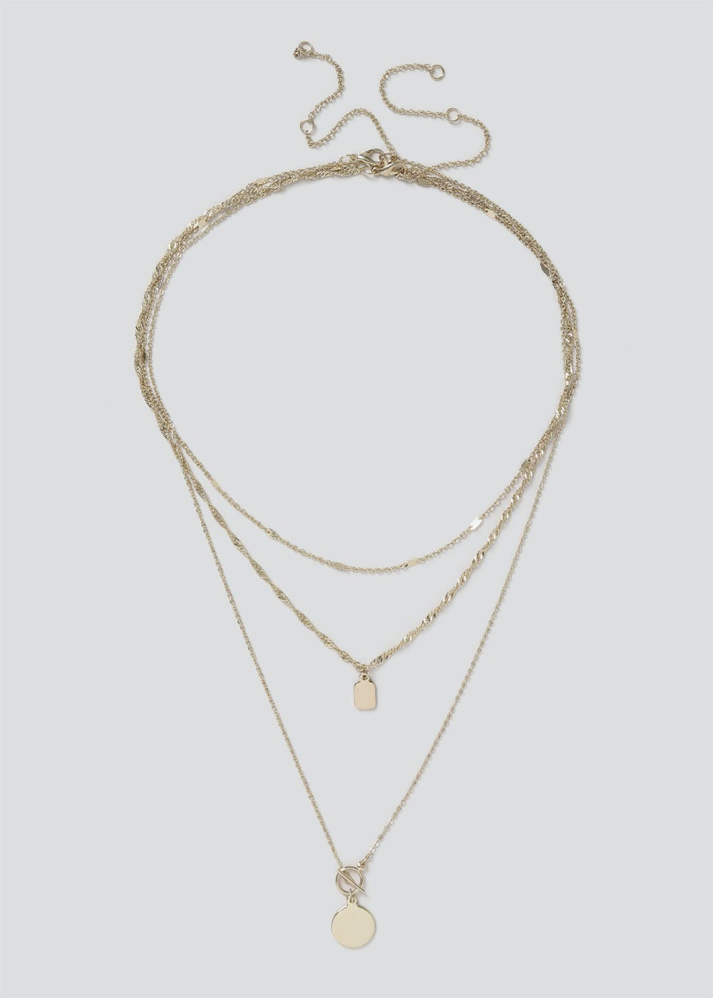 Multi Row Layer Chain Necklace – Gold