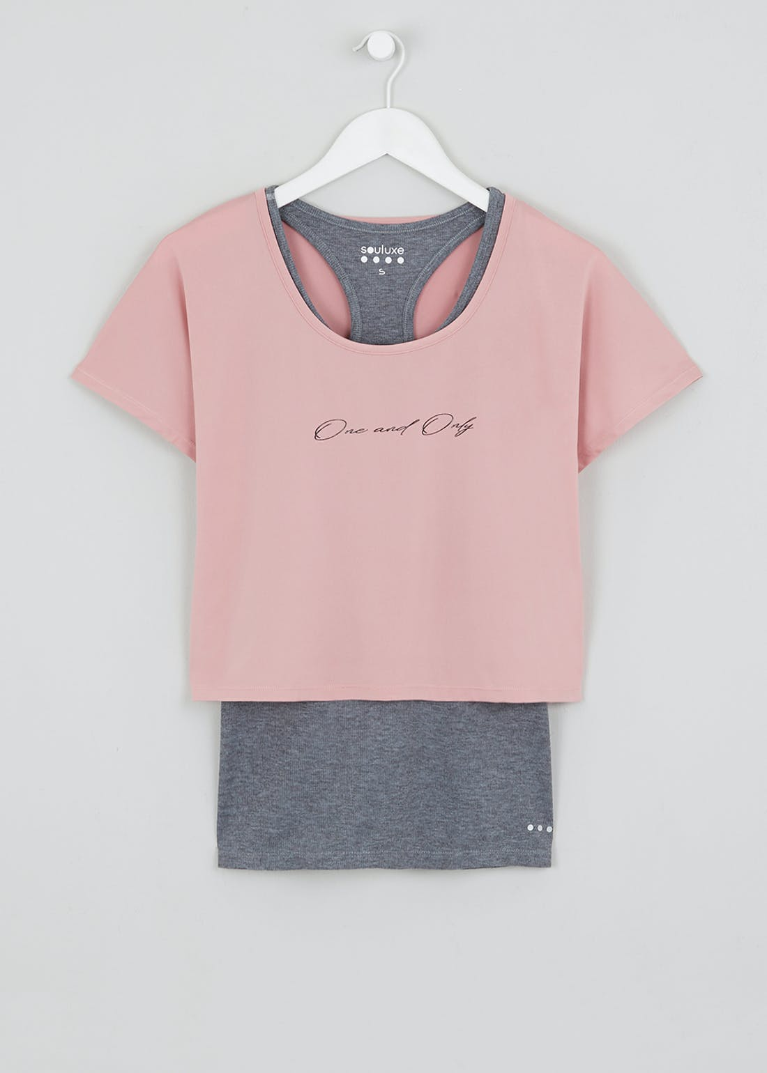 Souluxe 2 in 1 Slogan Gym Top