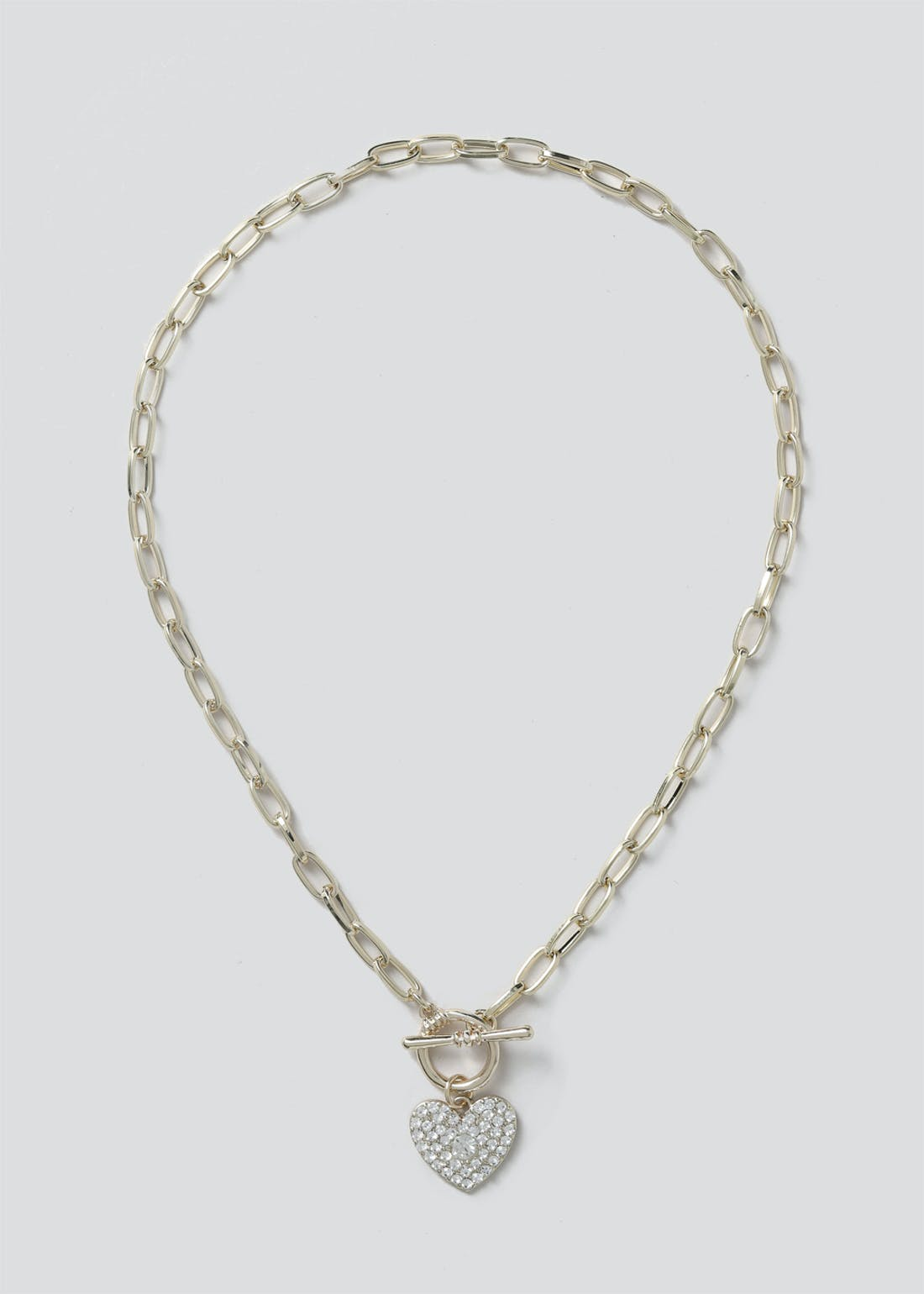 Heart T Bar Chain Necklace