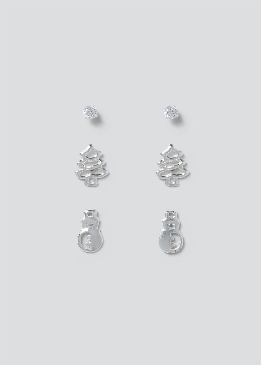 3 Pack Sterling Silver Christmas Stud Earrings