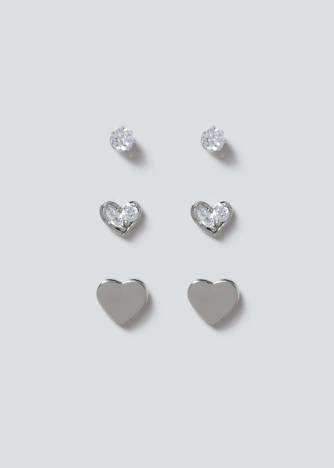 3 Pack Cubic Zirconia Heart Stud Earrings