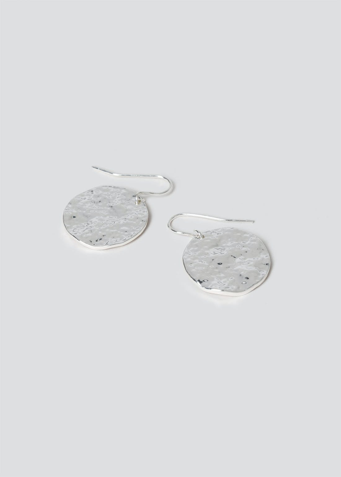 Beaten Circle Drop Earrings.