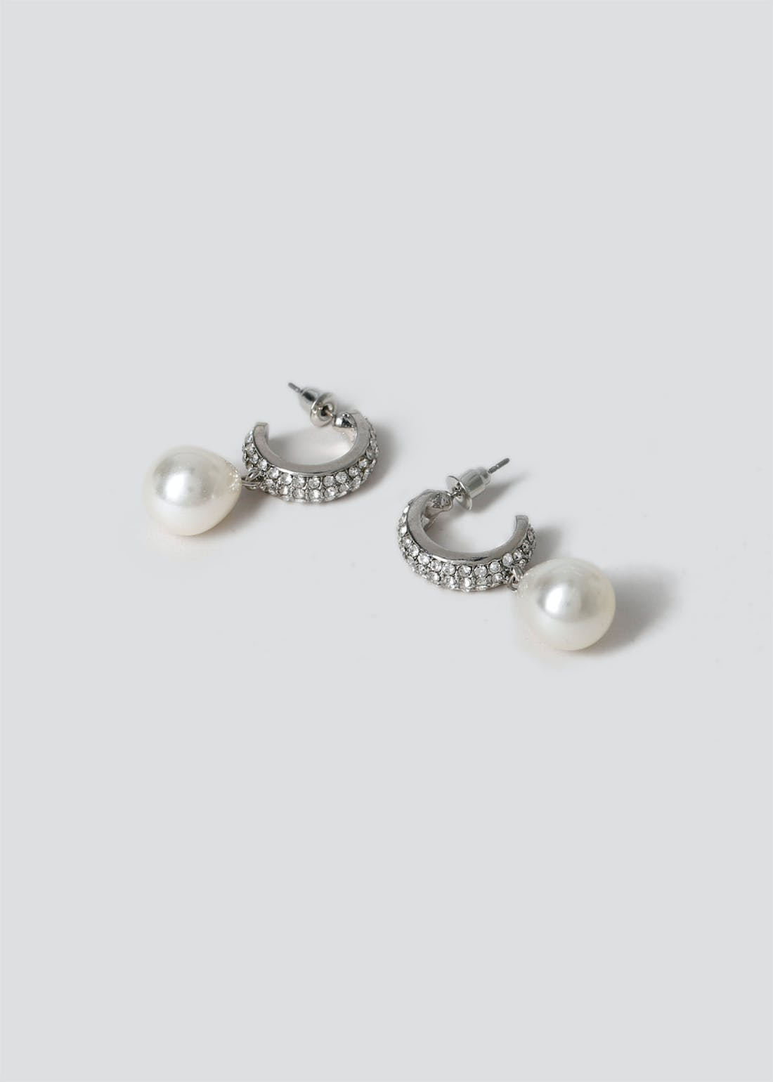 Rhinestone Pearl Drop Hoop Earrings