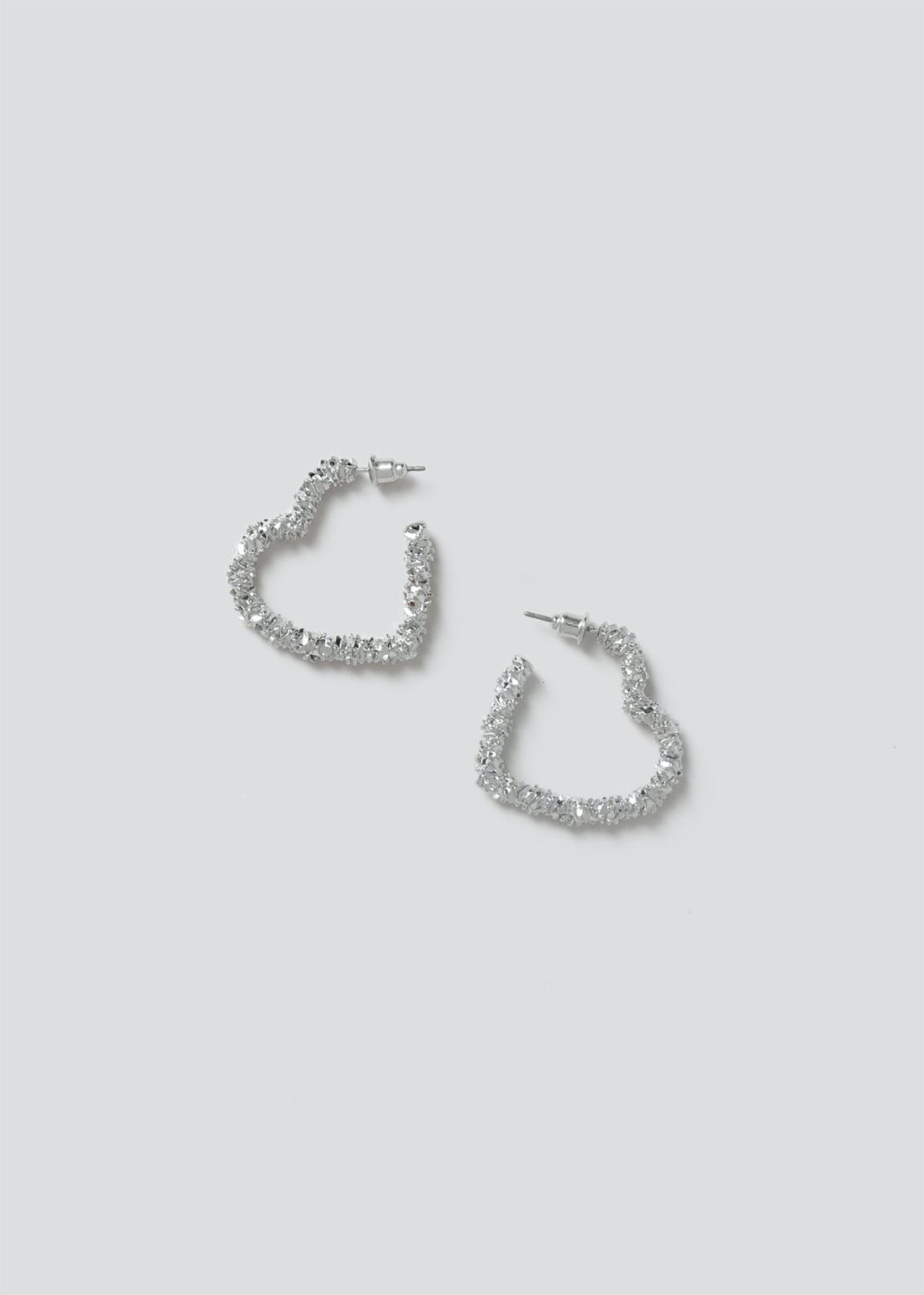 Crushed Foil Heart Drop Earrings.