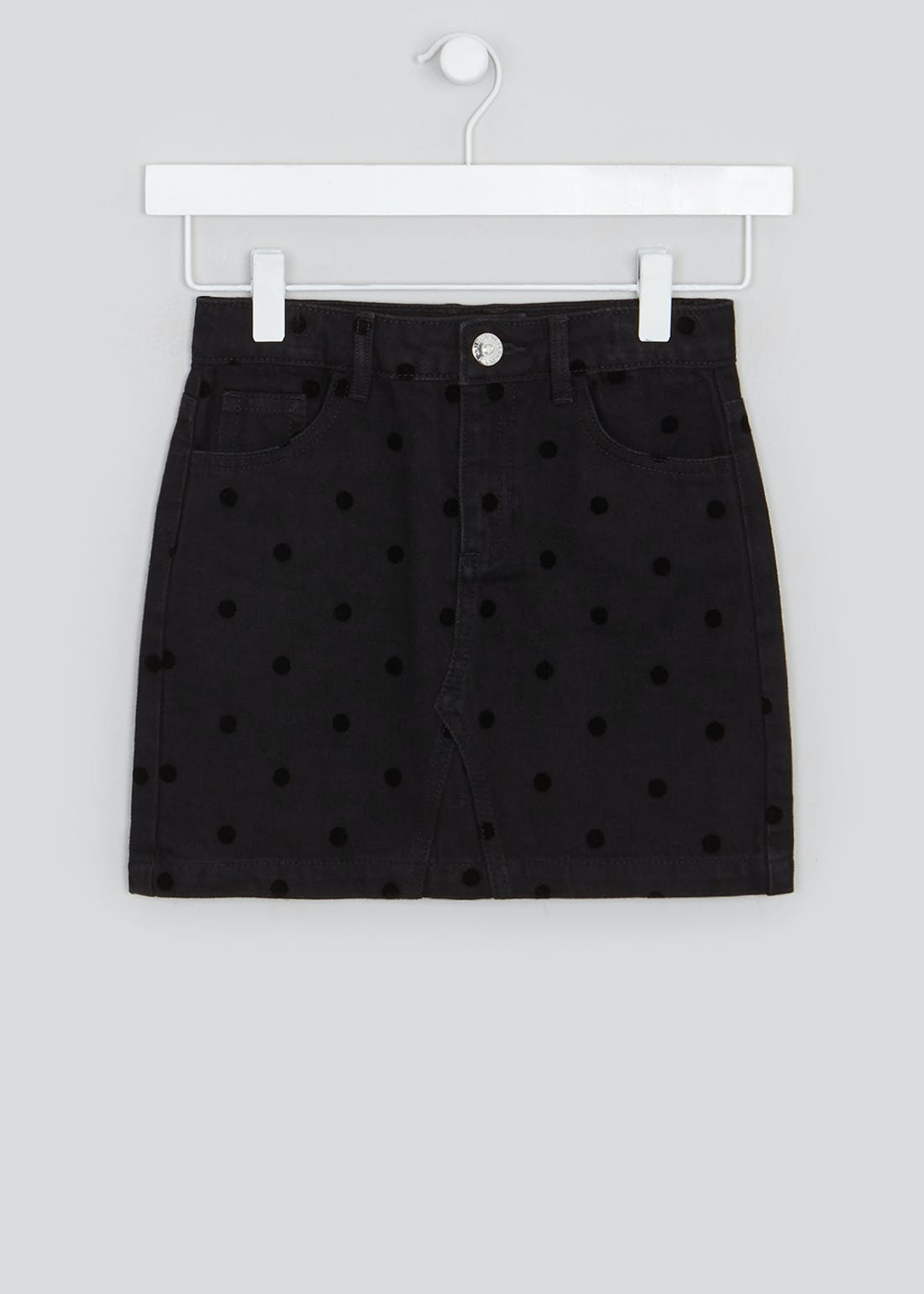 Girls Velvet Polka Dot Denim Skirt (4-13yrs)