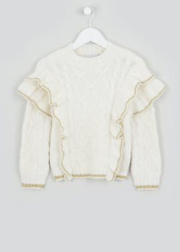 Girls Frill Sleeve Jumper (4-13yrs)