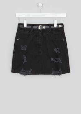Girls Candy Couture Western Ripped Denim Skirt (9-16yrs)