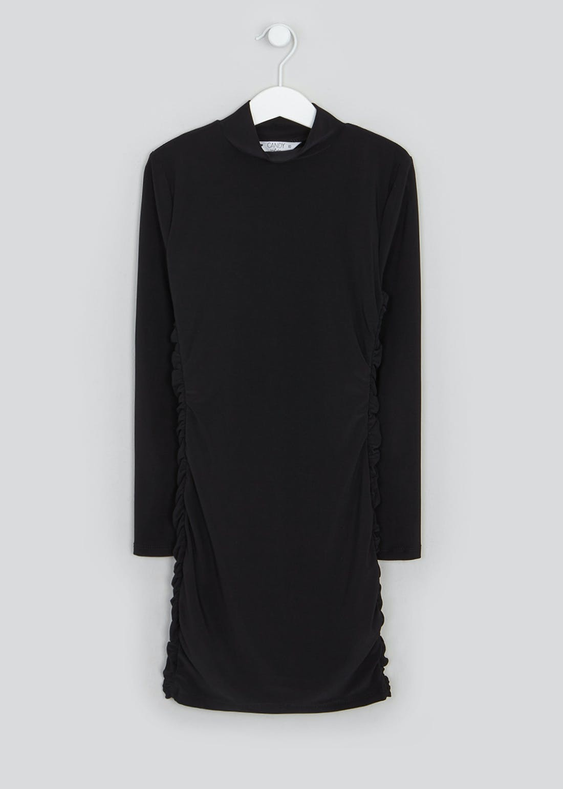 Girls Candy Couture Black Ruched Long Sleeve Dress (9-16yrs)