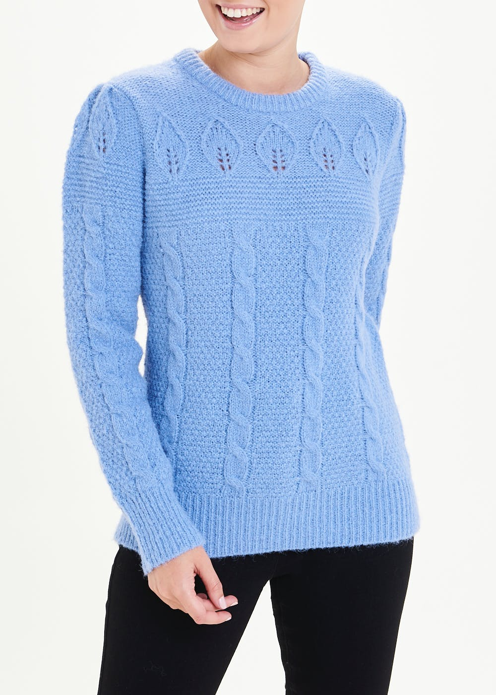 Puff Sleeve Cable Knit Jumper – Blue