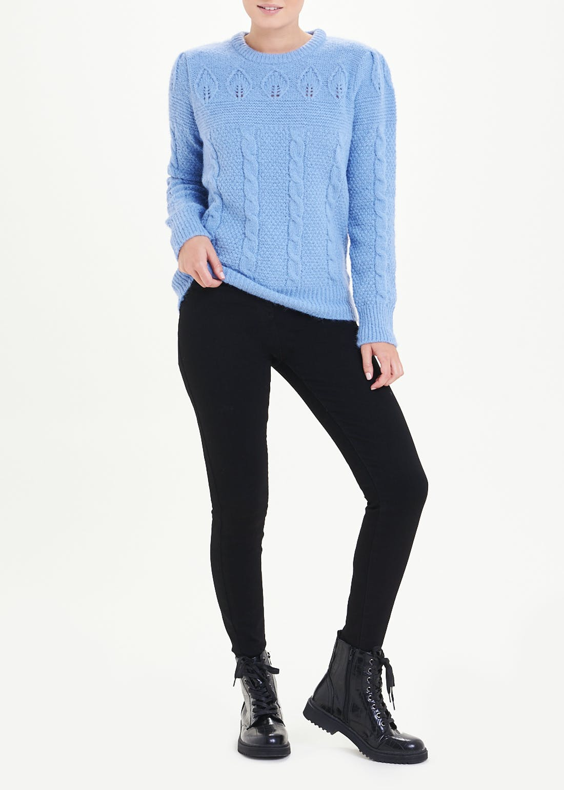 Puff Sleeve Cable Knit Jumper
