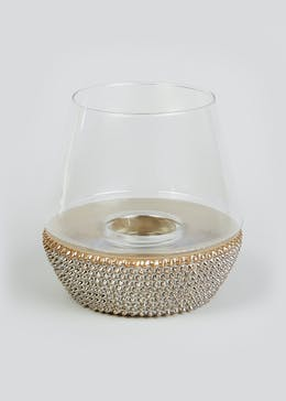 Nicole Farhi Ceramic Base Glass Hurricane (25cm x 25cm x 24.5cm)