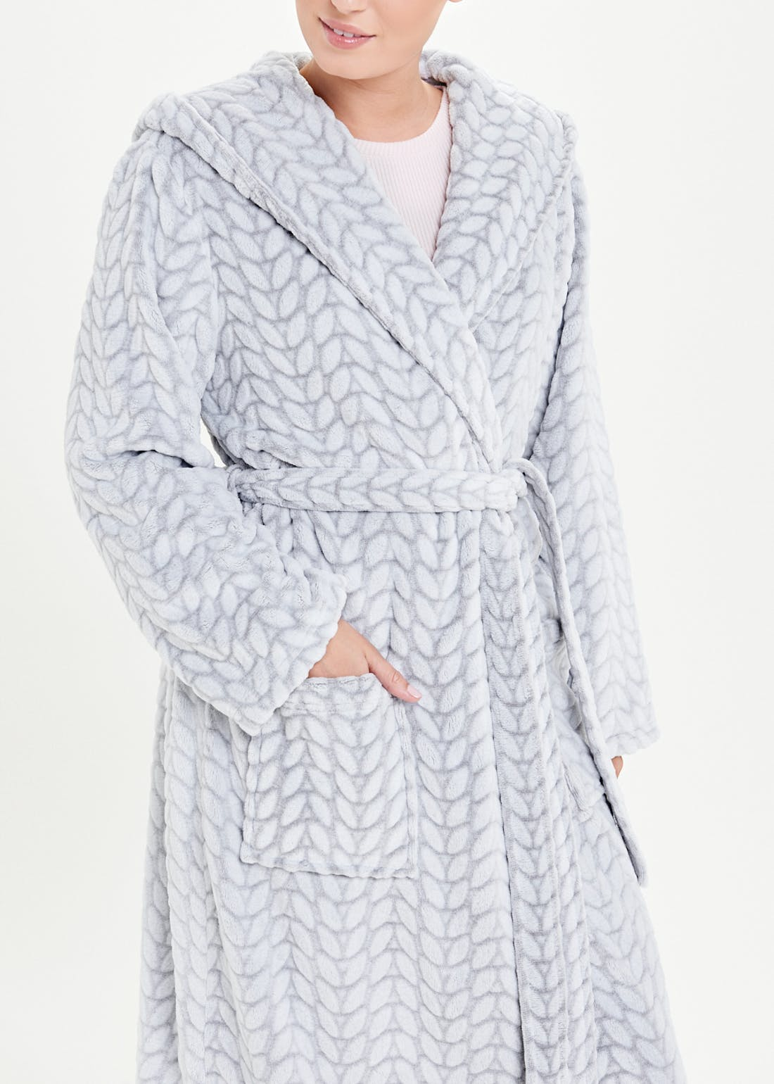 Cable Fleece Dressing Gown