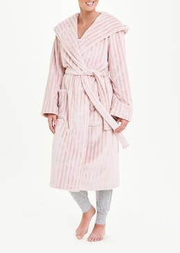 Satin Stripe Fleece Dressing Gown