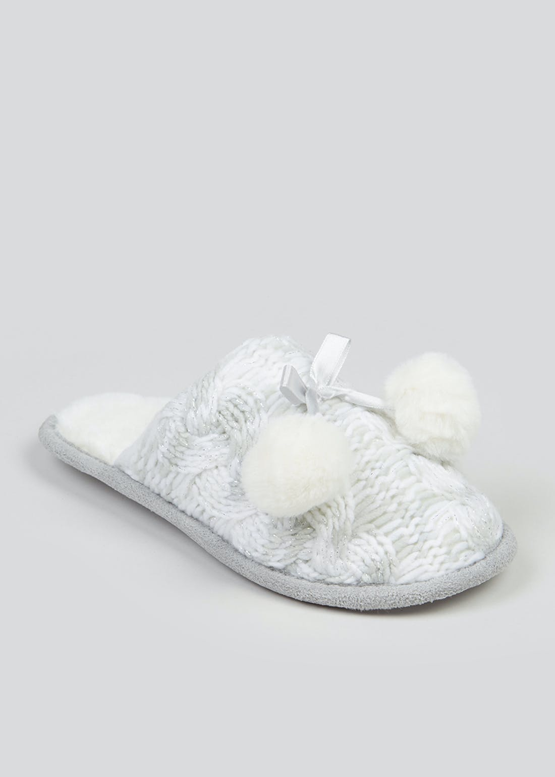 Silver Knitted Mule Slippers