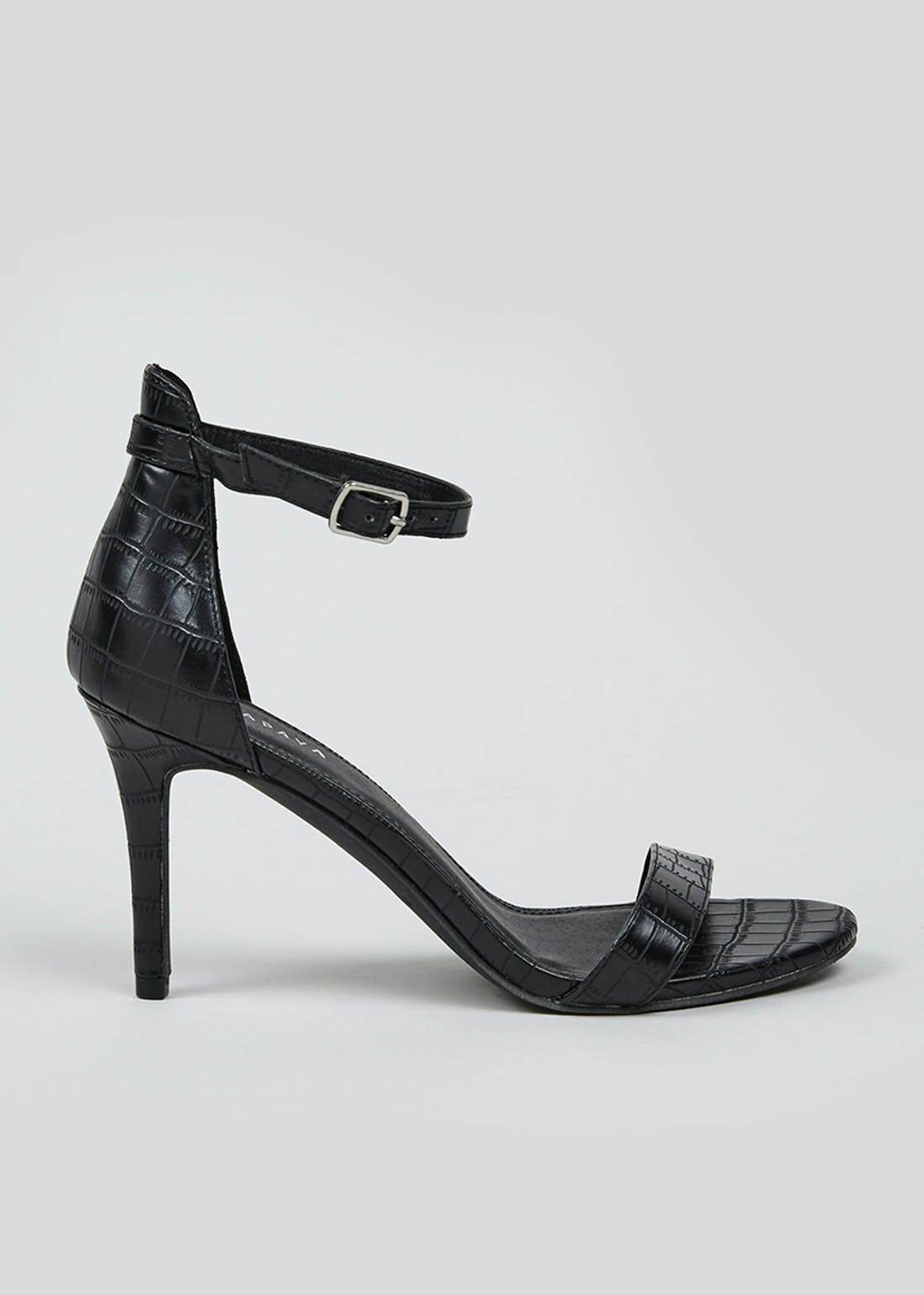 Black Mock Crock Strappy Heels