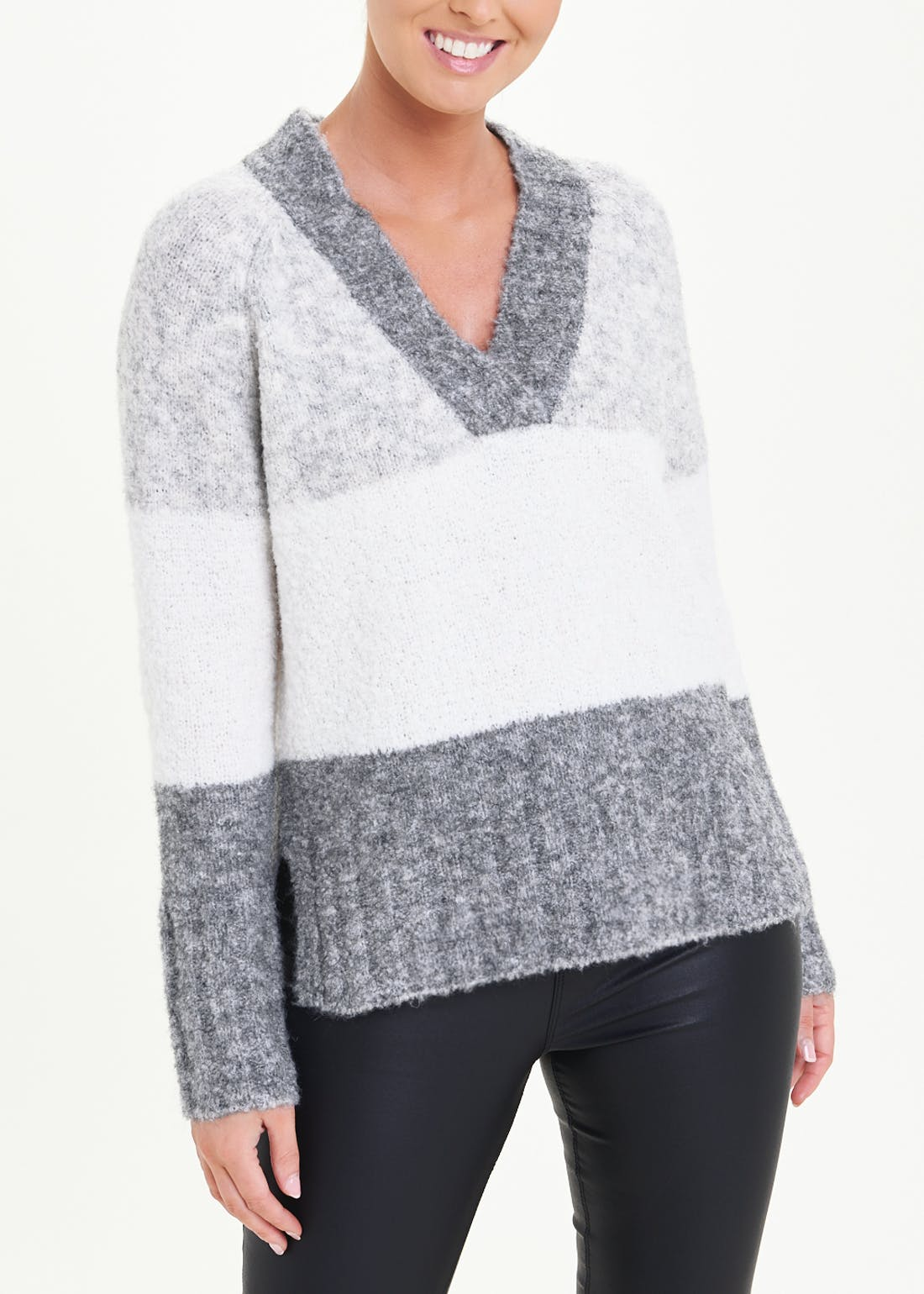 V Neck Boucle Stripe Jumper