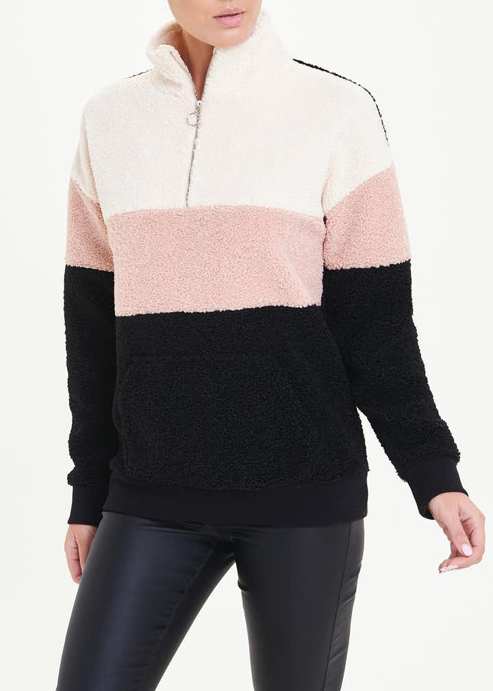 Teddy Fleece Colour Block Top