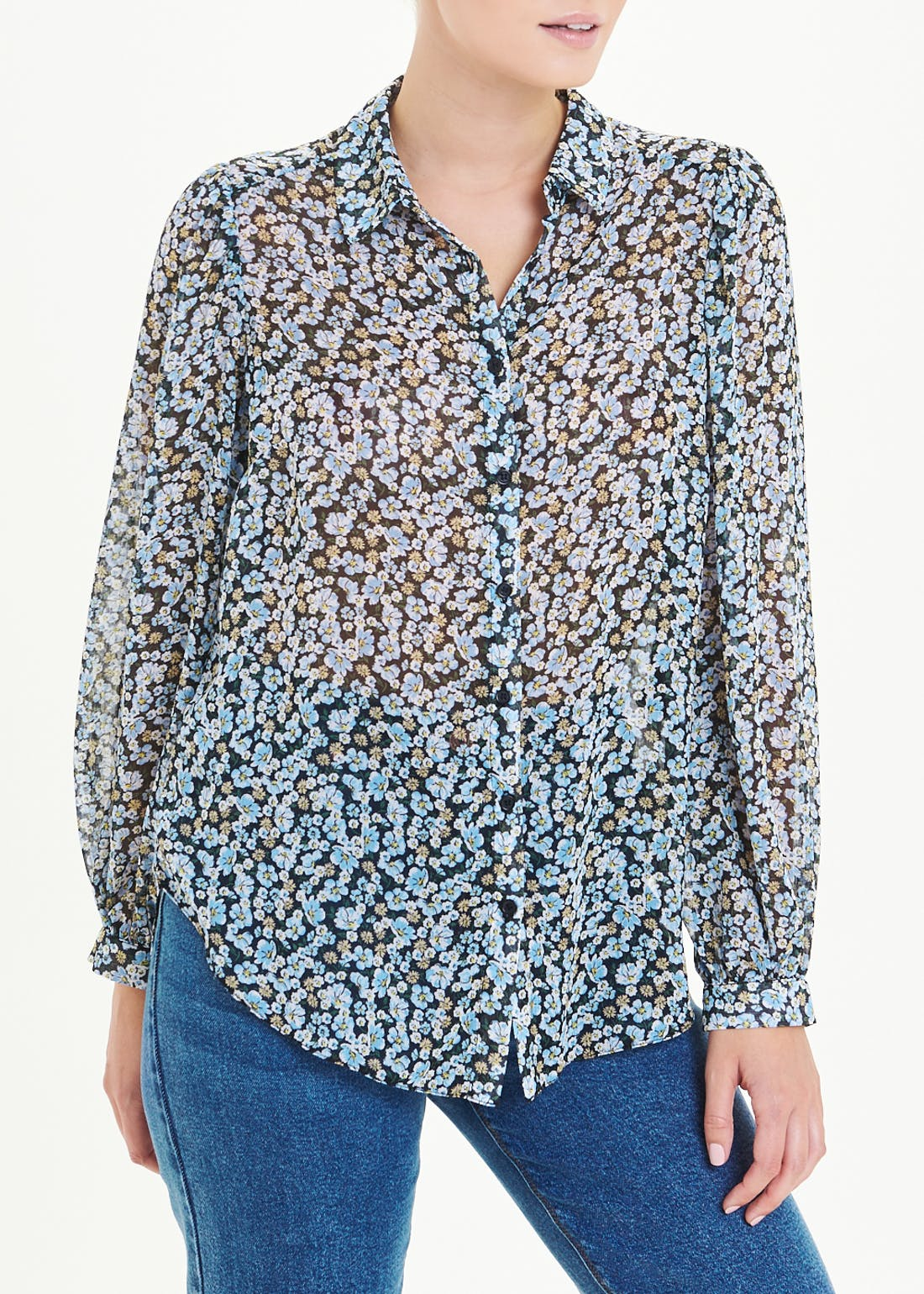 Balloon Sleeve Sheer Floral Shirt