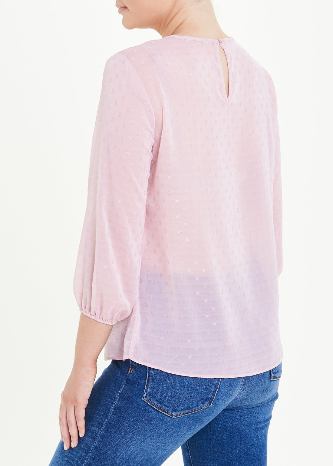Pink 3/4 Sleeve Flocked Dot Blouse