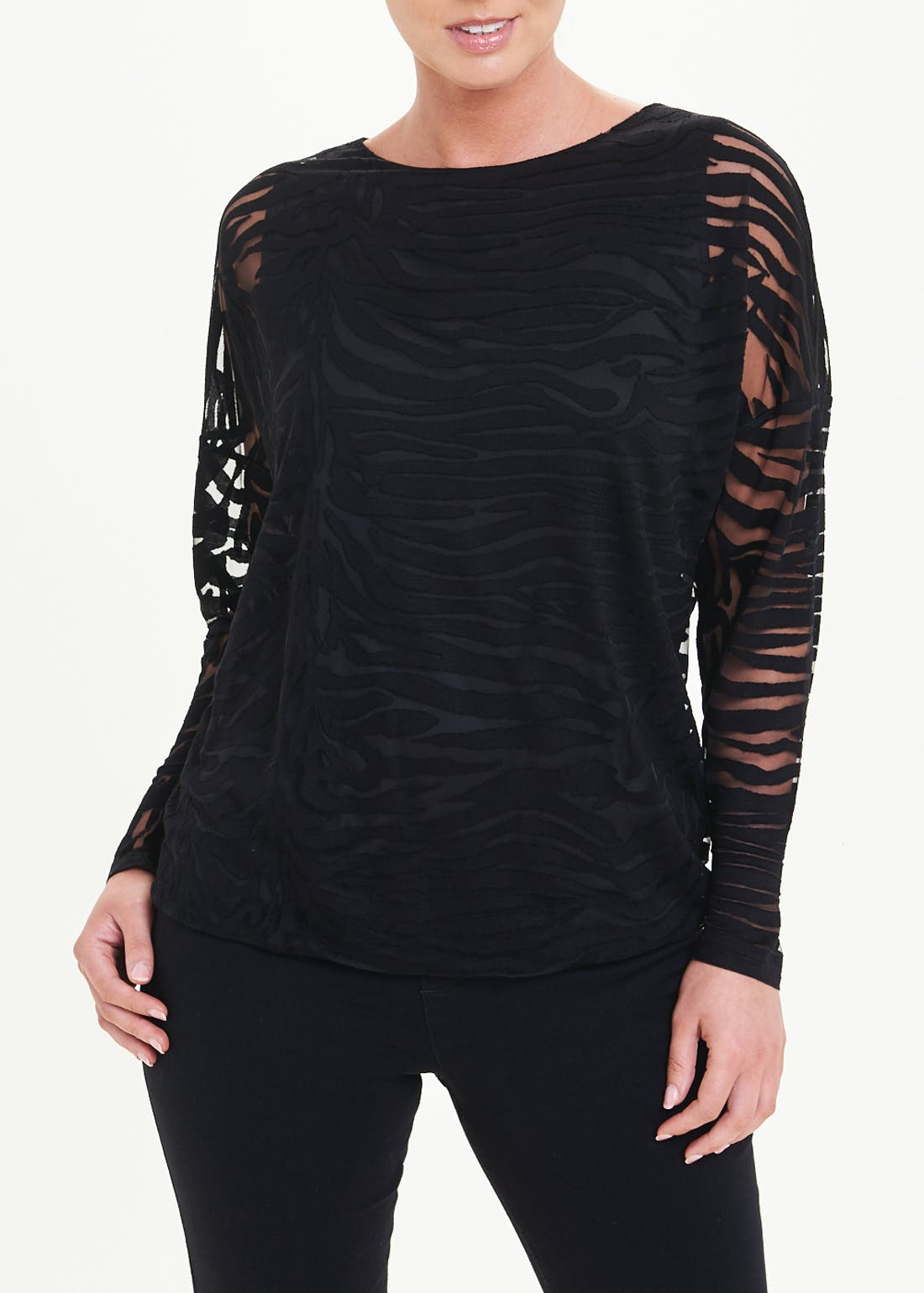 Soon Burnout Animal Print Jersey Top