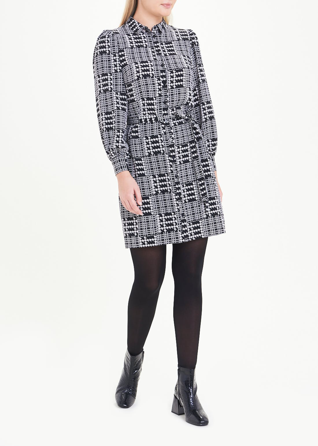 Puff Sleeve Check Print Shirt Dress