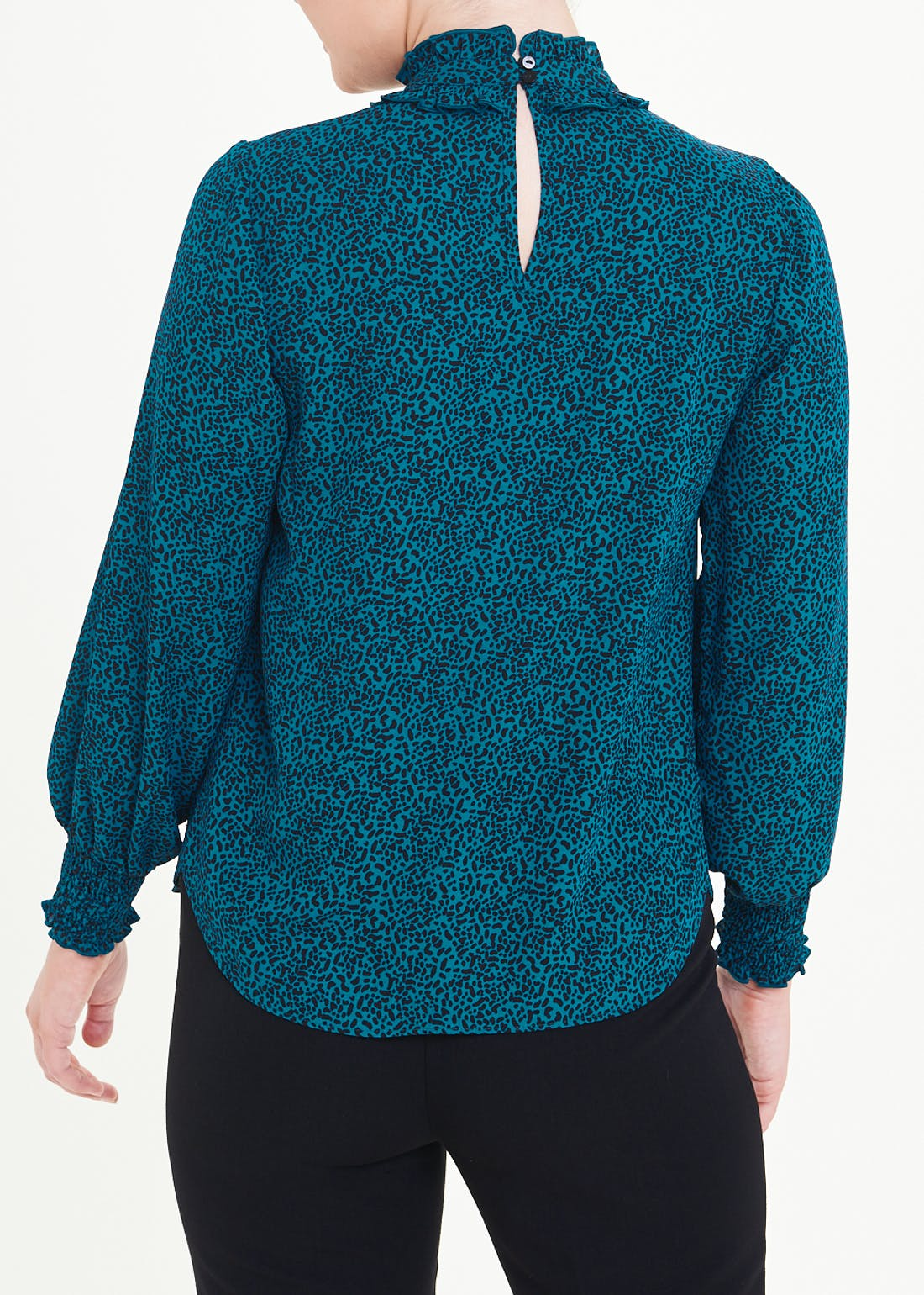 Teal Long Sleeve Animal Print High Neck Blouse