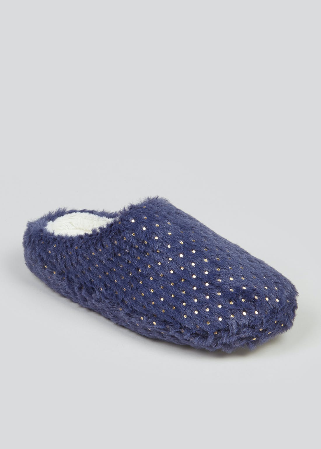 Navy Foil Print Fluffy Mule Slippers