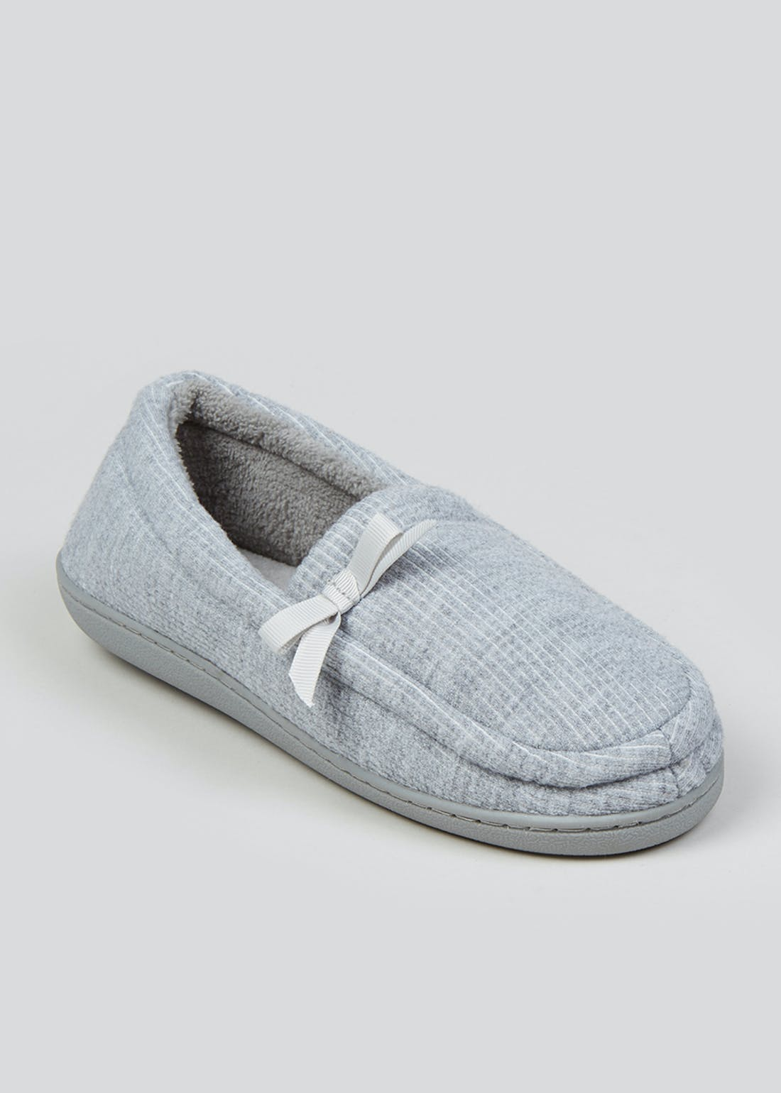 Grey Velour Lined Slippers