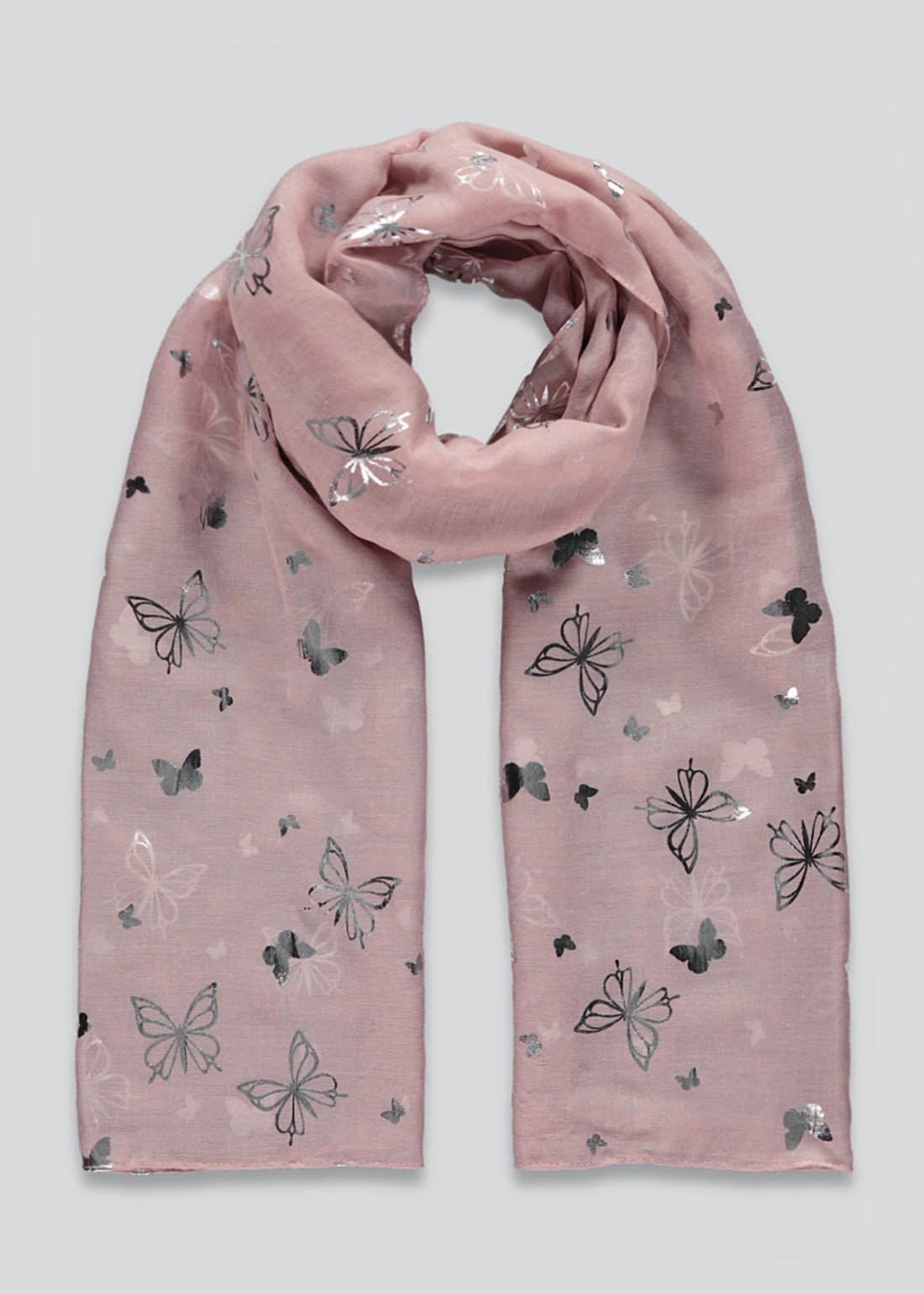Foil Print Butterfly Scarf