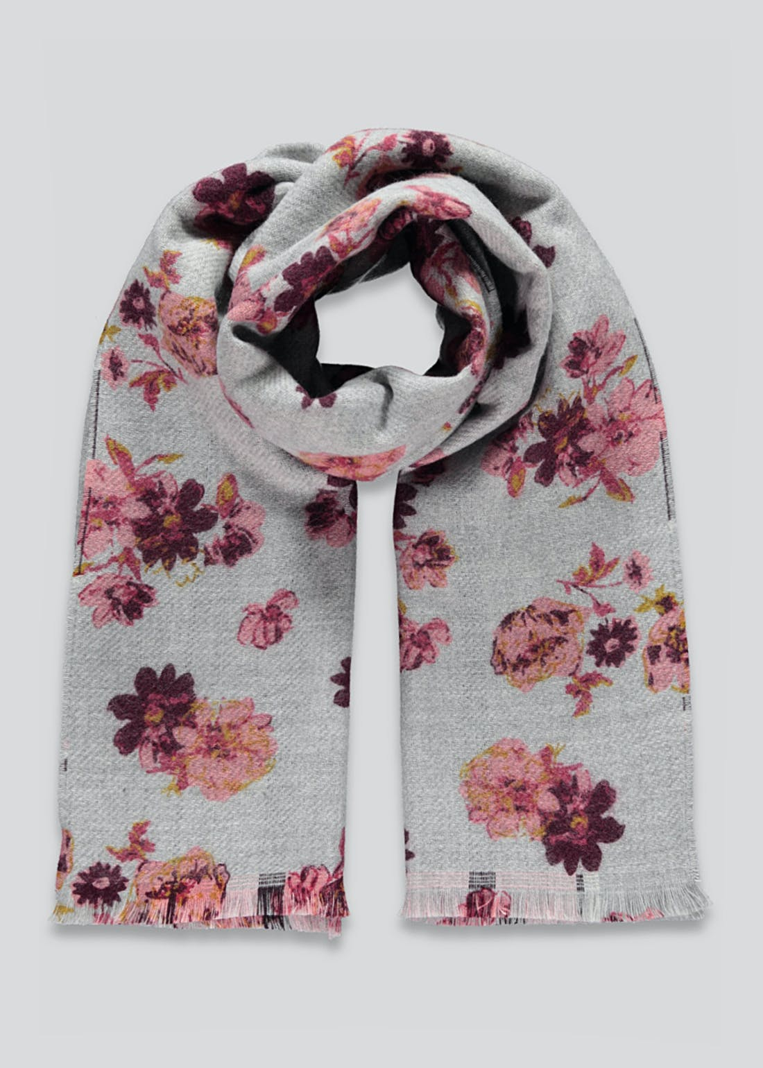 Reversible Floral Check Blanket Scarf