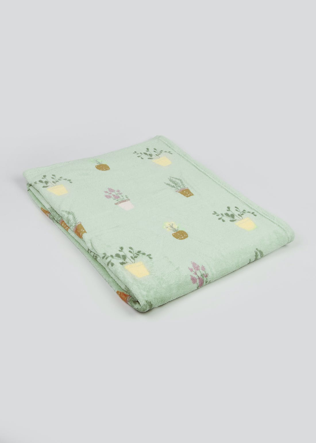 Plant Print Fleece Throw Blanket (150cm x 130cm)