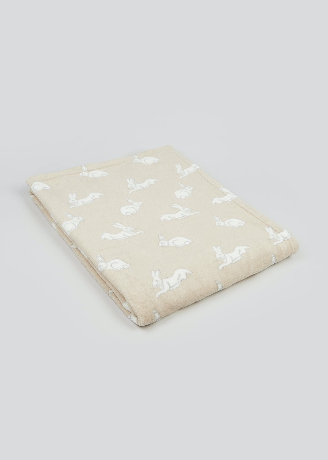Bunny Print Fleece Throw Blanket (150cm x 130cm)