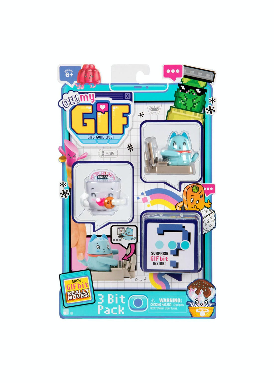 Oh My Gif Animated Figures - 3 Bit Pack (6cm x 6cm x 4cm)