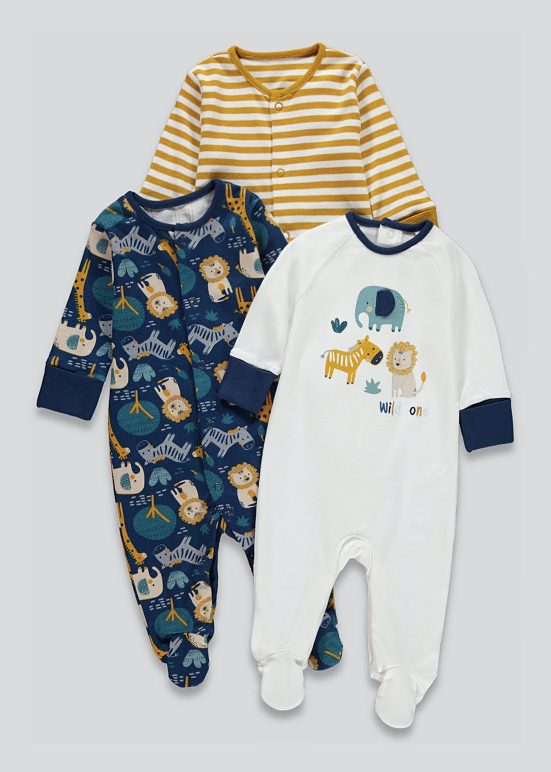 Unisex 3 Pack Safari Baby Grows (Tiny Baby-18mths)
