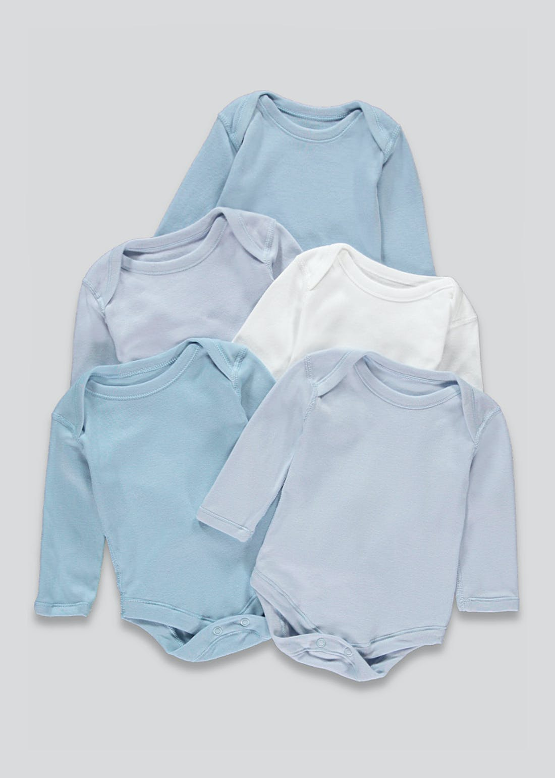 Boys 5 Pack Long Sleeve Bodysuits (Newborn-23mths)