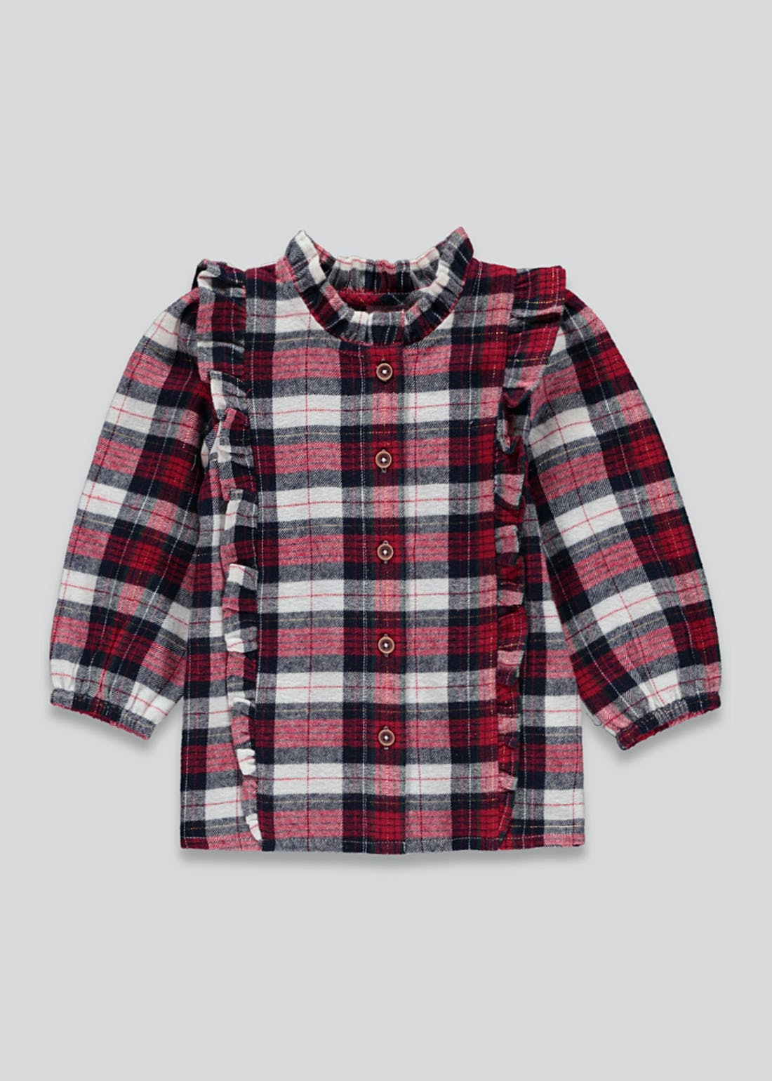 Girls Lurex Frill Check Shirt (9mths-6yrs)
