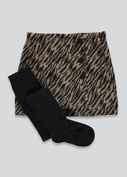 Girls Animal Print Skirt & Tights Set (4-13yrs)