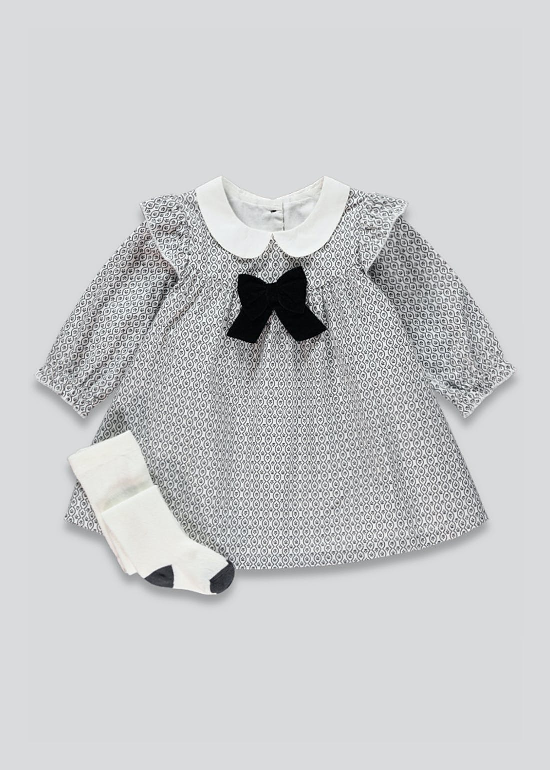 Girls Velvet Bow Dress & Tights Set (Newborn-23mths)