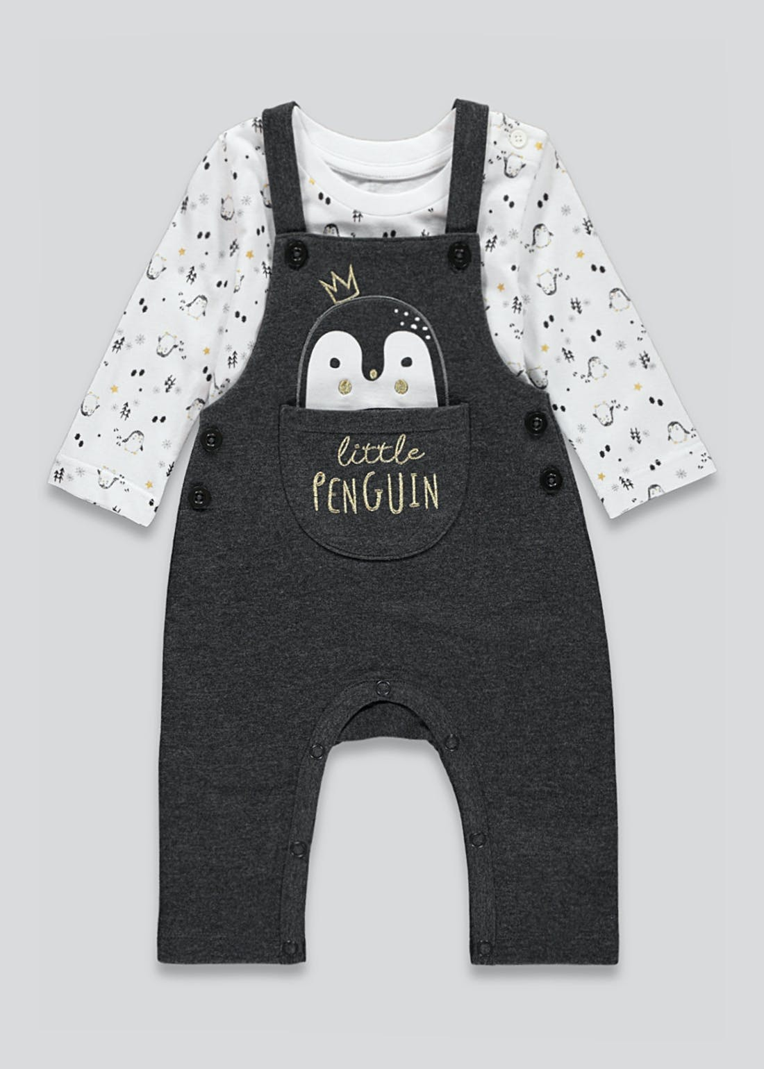 Unisex Penguin Dungaree Set (Tiny Baby-23mths)