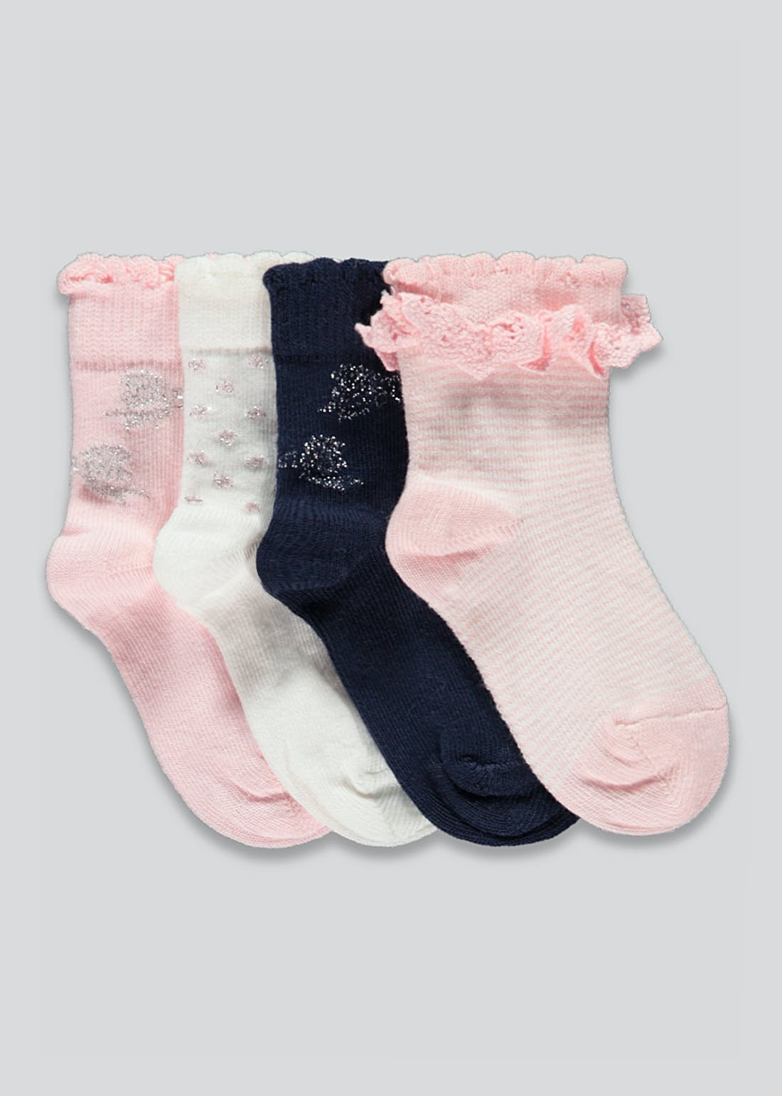 Girls 4 Pack Sparkle Socks (Newborn-12mths)
