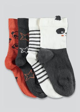 Unisex 4 Pack Panda Socks (Newborn-12mths)
