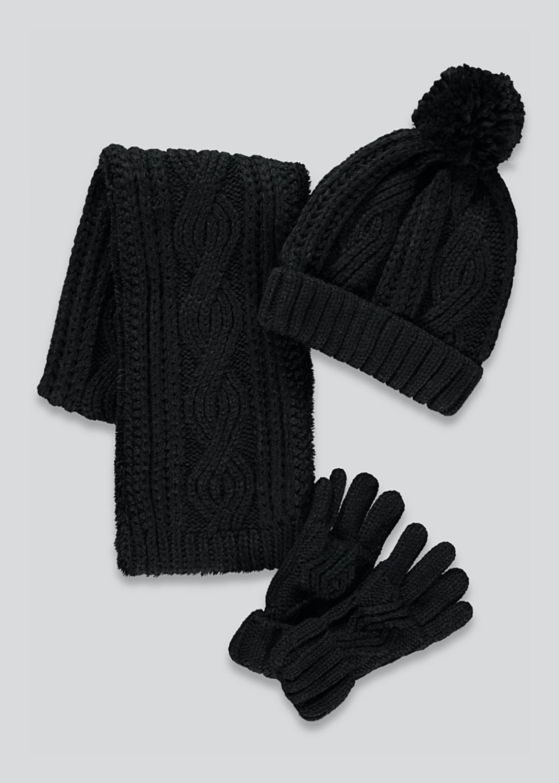 Kids 3 Piece Hat Scarf & Gloves Set (3-13yrs)