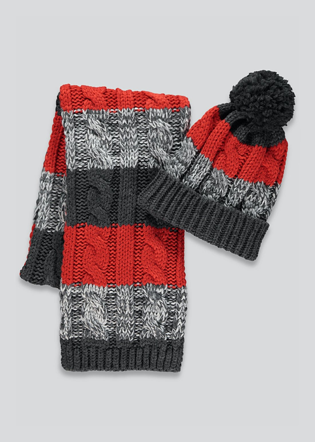Kids Knitted Bobble Hat & Scarf Set (7-13yrs)