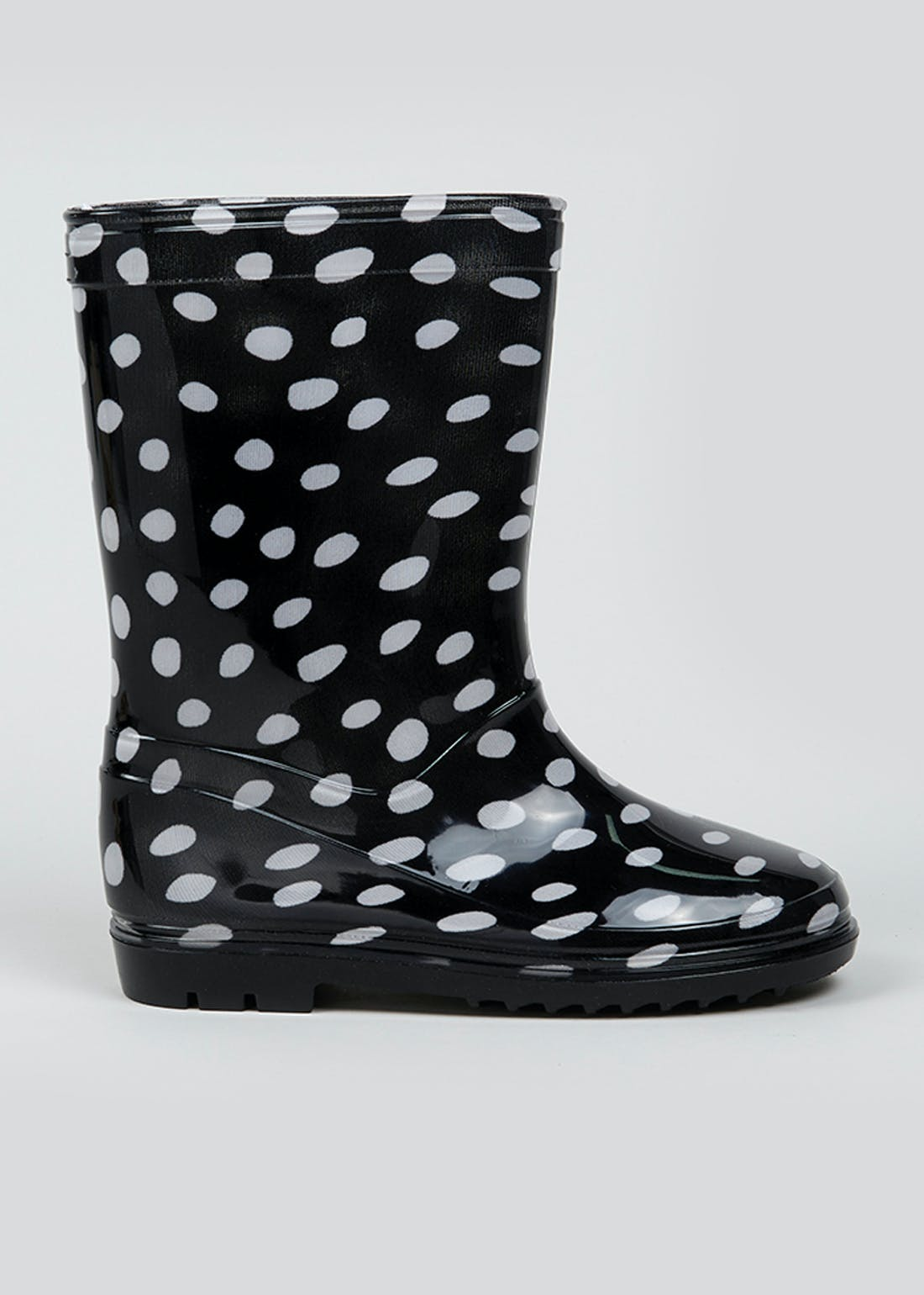 Kids Black Spot Print Wellies (Younger 10-Older 5)