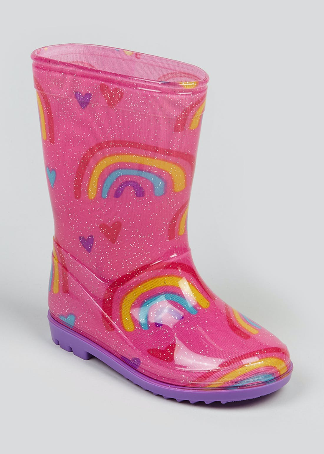 Kids Pink Glitter Rainbow Wellies (Younger 4-9)
