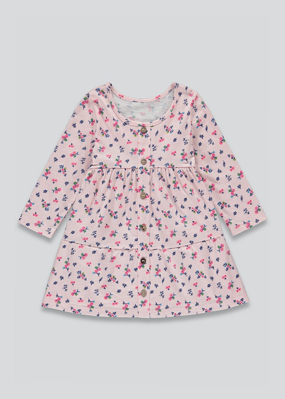 Girls Long Sleeve Tiered Floral Dress (9mths-6yrs)