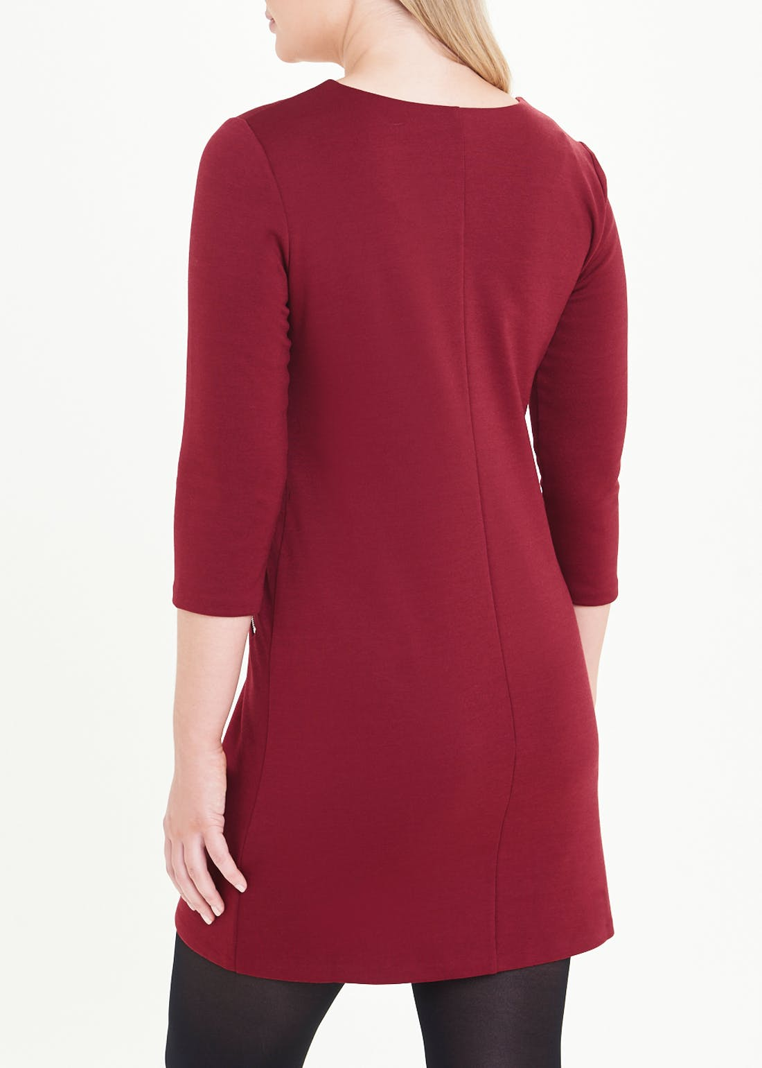 Burgundy 3/4 Sleeve Shift Dress